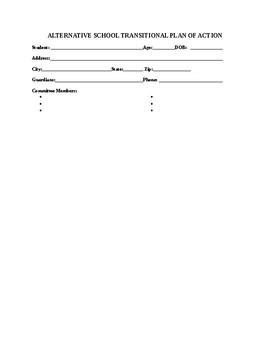 Alternative School Transition Plan of Action Form
