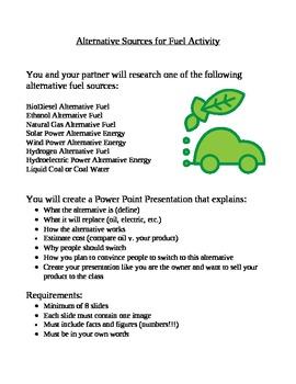 Alternative Sources of Fuel Activity