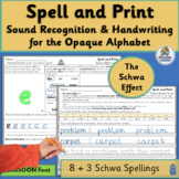 Alternative Spellings & Handwriting Practice for The Schwa Effect | SASSOON Font