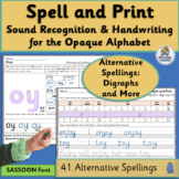 Alternative Digraph Spellings & Handwriting supports Jolly Phonics |SASSOON Font