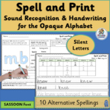 Alternative Spelling and Handwriting Practice for Silent Letters | SASSOON Font