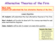 Alternative Theories of the Firm & Theory of the Firm - Economics