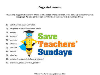 Alternatives for said / Synonyms for said Worksheets and Flashcards