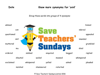 Alternatives for said / Synonyms for said Worksheets and F