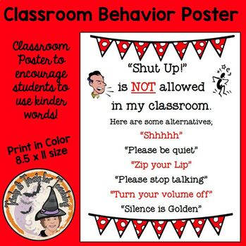 Discipline Alternatives to Students telling other Students to Shut Up Behavior