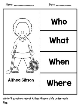 Althea Gibson- Black History Month Activity