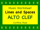 Alto Clef Lines and Spaces Worksheet