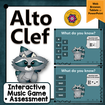 Alto Clef Note Names Interactive Music Game + Assessment  {Dancing Raccoon}