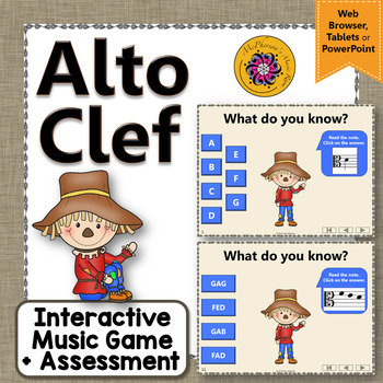 Alto Clef Note Names Interactive Music Game + Assessment  {Dancing Scarecrow}