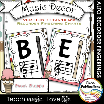 Alto Recorder Fingering Chart Posters v1 Black/Tan- Music Decor Sweet Shoppe