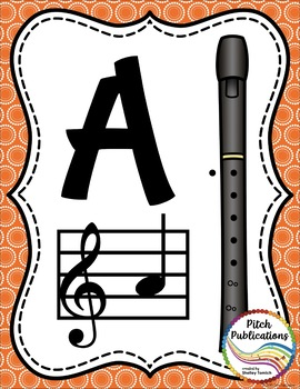 Alto Recorder Fingering Chart Posters v1 Black/Tan- Music Decor Rainbow Brights
