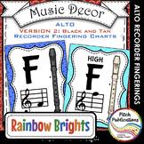 Alto Recorder Fingering Chart Posters v2 Black /Tan- Music Decor Rainbow Brights