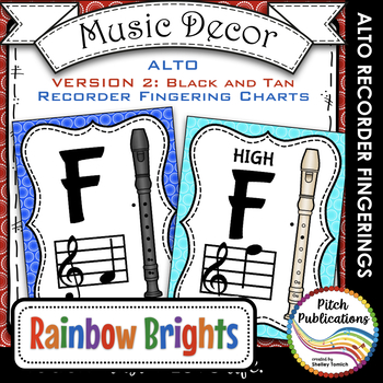 Alto Recorder Fingering Chart Posters v2 Black /Tan- Music
