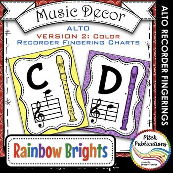 Alto Recorder Fingering Chart Posters v2 COLOR - Music Dec