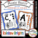 Alto Recorder Fingering Chart Posters v3 HOLES - Music Dec
