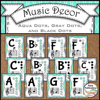 Alto Recorder Fingering Chart Posters v3 Holes Black/Tan- Music Decor Aqua Gray