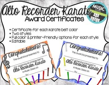 Alto Recorder Karate / Dojo Volume 1 & 2 Certificates BUNDLE