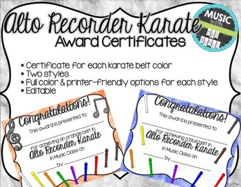 Alto Recorder Karate / Dojo Volume 1 Certificates