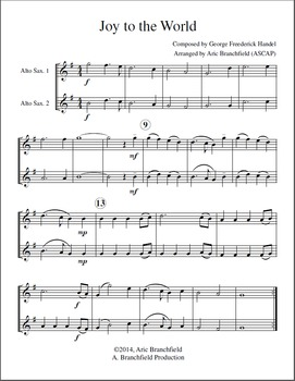 Alto Saxophone Duet Christmas Carols