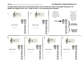 Alto Saxophone Fingering Worksheet 2 for Band Beginners