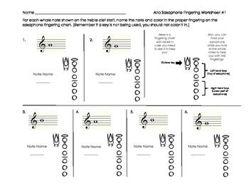 Alto Saxophone Fingering Worksheet for Band Beginners