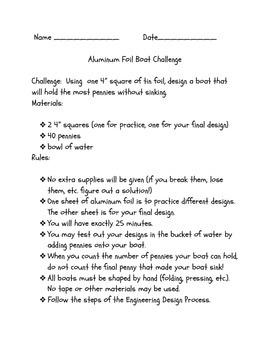 Aluminum Foil Boat STEM Challenge