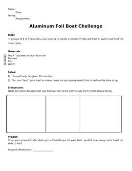 Aluminum Foil Boat Team Challenge