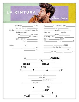 Alvaro Soler - 'Cintura' Cloze Song Sheet in Spanish!