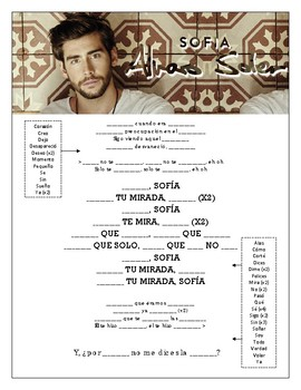Alvaro Soler - 'Sofia' Cloze Song Sheet! Spanish