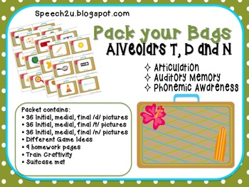 Alveolar Vacation: Articulation, Speech Therapy:  T, D, N