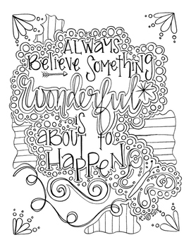 Always Believe Coloring Therapy Page, Art