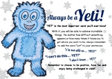 Growth Mindset: The Power of 'Yet' Mindset Poster and printable student Yeti's