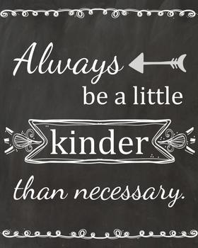 Always be kinder than necessary poster