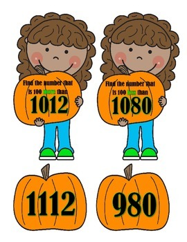 Am I 100 More Than or 100 Less Than?  Girl & Pumpkin