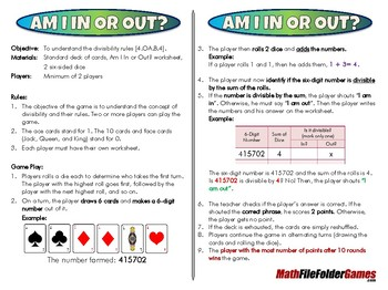 Am I In or Out - 4th Grade Game [CCSS 4.OA.B.4].