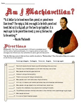 Am I Machiavellian? Quiz Based on The Prince