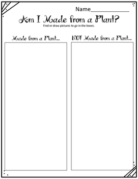 Am I Made from a Plant? Worksheets
