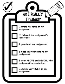 Am I REALLY Finished? Task Completion Student Friendly Checklist