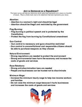 picture about Political Party Quiz for Students Printable named Am I a Democrat or a Republican? (Study/Worksheet)
