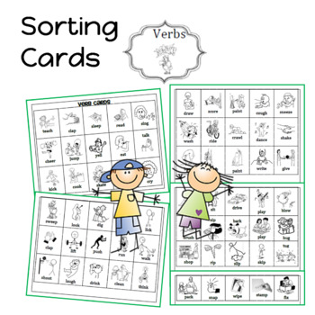 Am I a Noun or Verb Sorting activity  (cards with picture and word)