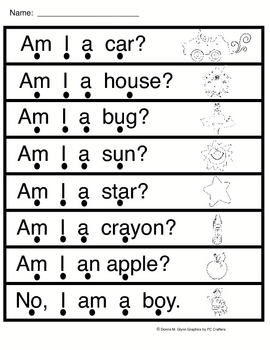 Am I   (worksheet to go along with sight word reader)