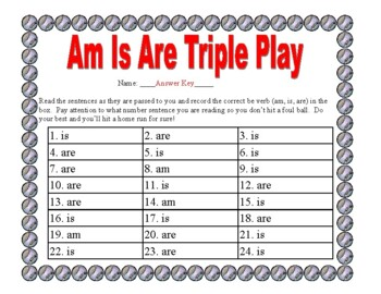 Am Is Are Triple Play