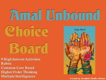 Amal Unbound Choice Board Novel Study Activity Menu Book Project