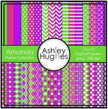 12x12 Digital Paper Set: Amanda Collection {A Hughes Design}