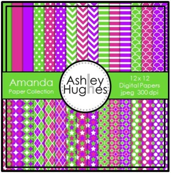 Amanda Paper Collection {12x12 Digital Papers for Commercial Use}