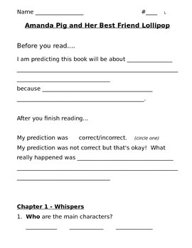 Amanda Pig and Her Best Friend Lollipop Comprehension Questions Guided Reading L