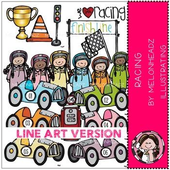 Racing clip art -  Race Cars - LINE ART- by Melonheadz