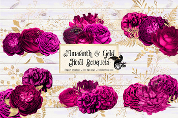Amaranth and Gold Floral Bouquets Clipart