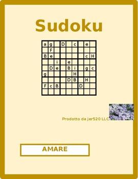 Amare Italian verb present tense Sudoku