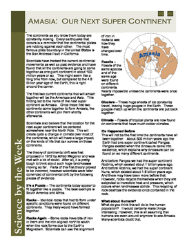 Amasia - Our Next Super Continent:   Leveled Informational Text